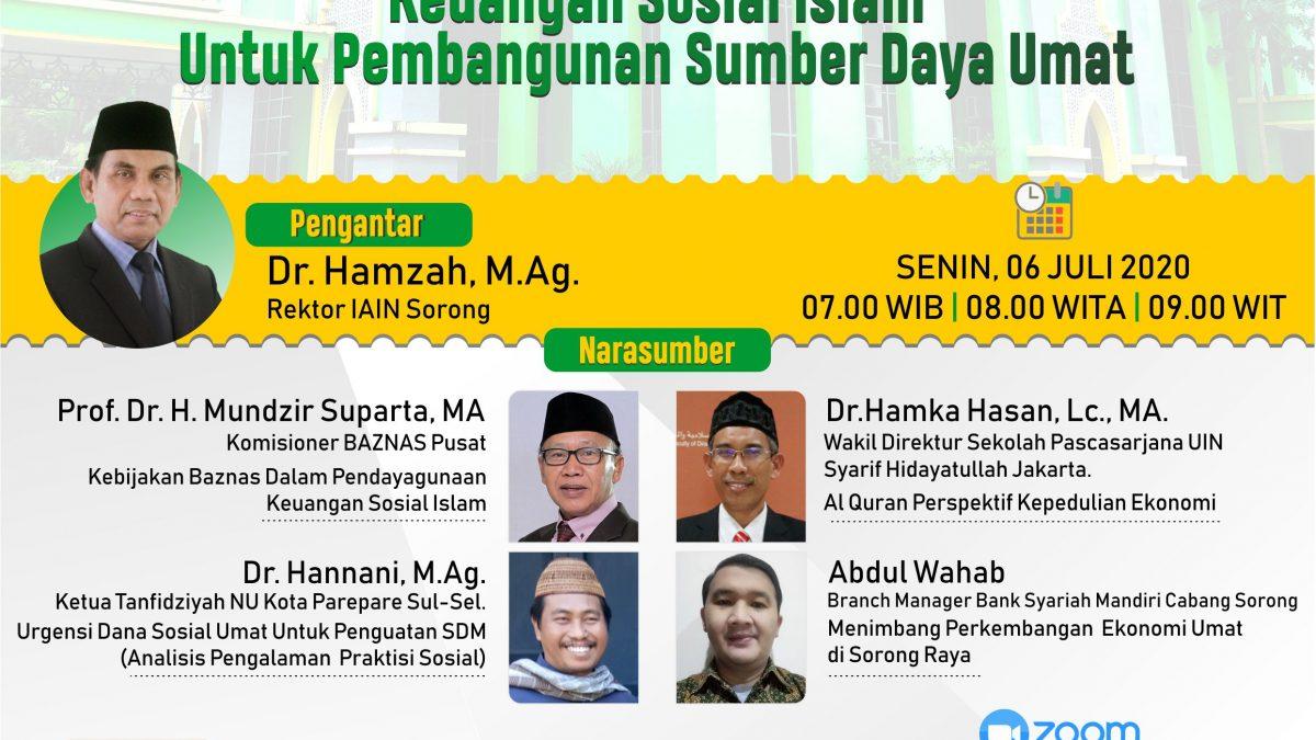 Adakan Webinar tentang Keuangan Sosial, IAIN Sorong Menghadirkan Komisioner Baznas Pusat